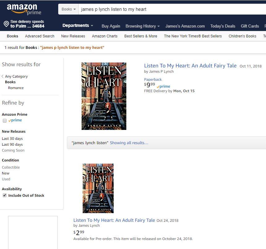 Listen to my heart Amazon Kindle Posting