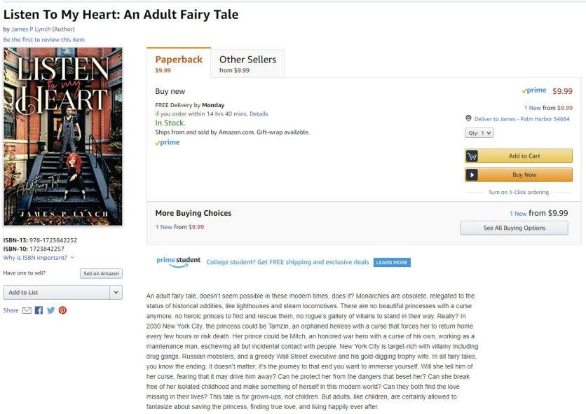 Listen to my heart Amazon Paperback Posting