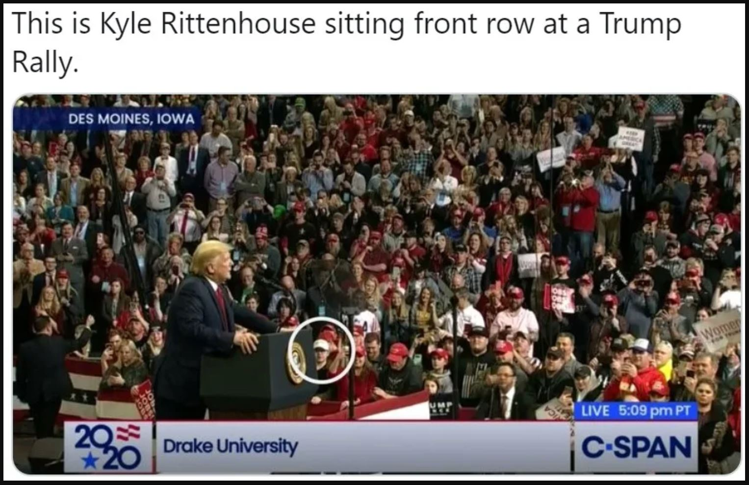 kyle rittenhouse at Trump Rally